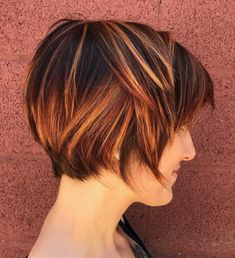 Choppy Brown Pixie With Copper Highlights