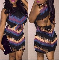 Attractive Scoop Neck Sleeveless Faux Tassel Printed Backless Dress For WomenBodycon Dresses | RoseGal.com