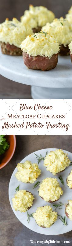 Blue Cheese Meatloaf Cupcakes with Mashed Potato Frosting - Queen of My Kitchen Blue Cheese Meatloaf Cupcakes with Mashed Potato Frosting – Recreate one of the most boring meals ever (meatloaf and mashed potatoes) and surprise your family with cupcakes for dinner!   QueenofMyKitkchen.com   #meatloaf #cupcake #cupcakes #glutenfree #glutenfreerecipes #funfood