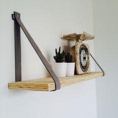 Set van 2 leren plankdragers | Wit