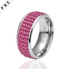 Wholesale new design 18k white gold rhinestone diamond circular rings for women