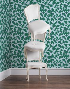 Bruno (Emerald/Sky) wallpaper featuring an abstract green and blue motif was designed by Tilton Fenwick for Hygge & West. Our modern, high quality wallpapers are screen printed by hand in the USA. Modern Wallpaper Designs, Geometric Wallpaper, Wallpaper Panels, Pattern Wallpaper, Blue Background Patterns, Creative Wall Painting, Nursery Wallpaper, High Quality Wallpapers, Elle Decor