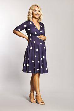 Katie Piper Maternity Navy Polka Dot 3/4 Sleeve Wrap Skater Dress