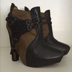 """Sam Edelman Ankle Boot Sam Edelman Zoe Ankle Boots.  Black and moss green leather and faux suede. Removable harness.  Chunky concealed platform.  Zip closure. Approx 5 1/2"""" heel w/hidden 1"""" platform. Brand new, not sold with box. Sam Edelman Shoes"""