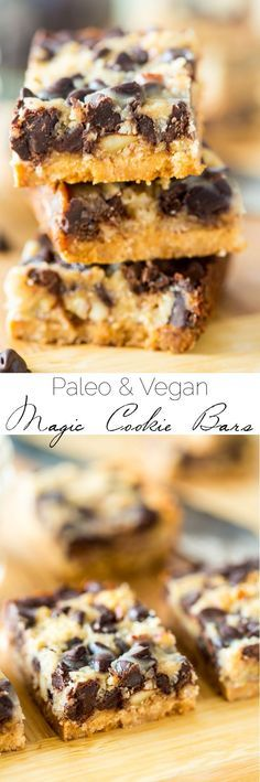 (Switch out the honey for agave or maple syrup to make it vegan.) Paleo and Vegan Magic Cookie Bars - These magic cookie bars are a healthier remake of the classic dessert! You'll never know they're gluten, grain, dairy and refined sugar free! Paleo Dessert, Healthy Sweets, Gluten Free Desserts, Dairy Free Recipes, Paleo Recipes, Whole Food Recipes, Dessert Recipes, Flour Recipes, Dessert Food