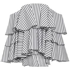Caroline Constas Carmen Off the Shoulder Top (¥52,555) ❤ liked on Polyvore featuring tops, blouses, white cotton shirt, white striped shirt, white stripes shirt, cotton blouse and white cotton blouse