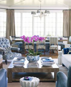 Ashley Whittaker - blue and white living and dining room