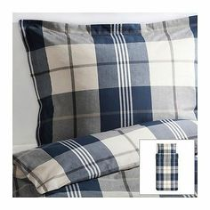 IKEA-Kustruta navy/white/tan plaid duvet/pillowcase set NWT-not available online