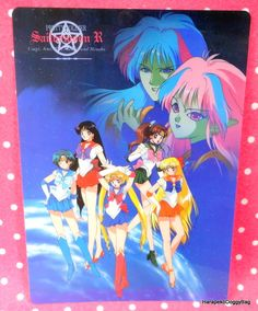 A shitajiki / illustration picture board for the Japanese shojo anime, Sailor Moon. The stationery item with the illustration of the pretty guardian soldiers, Ail and An is for Sailor Moon R.