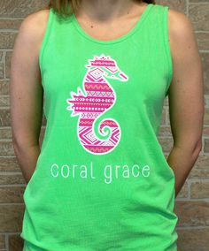 Adult Neon Green Tank Top with Aztec Print
