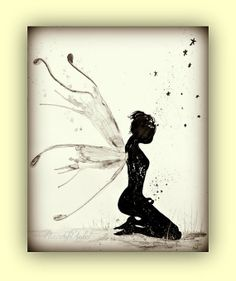 Fairy Art Faerie Black and white Art Print by PeaceofViolet, $18.00