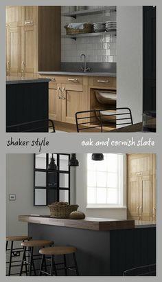 Shaker Kitchen in Oak and Cornish Slate Matt - The Linda Barker Collection - Wren Living Kitchen Cabinet Colors, Kitchen Cabinets, Grey Kitchen Inspiration, Linda Barker, Wren Kitchen, Kitchen Ideas, Kitchen Design, Kitchen Utilities, Shaker Kitchen