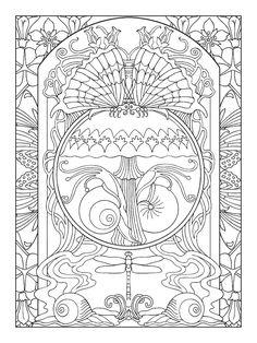 art nouveau animal designs coloring book - Art Nouveau Unicorn Coloring Pages