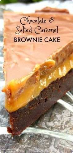 This is one decadently naughty dessert but it is also a very simple one - rich brownie topped with silky cashew caramel finished off with smooth milky chocolate! Chocolate And Salted Caramel Brownie Cake. 13 Desserts, Delicious Desserts, Yummy Food, Brownie Desserts, Baking Recipes, Cake Recipes, Dessert Recipes, Pudding Recipes, Baking Ideas