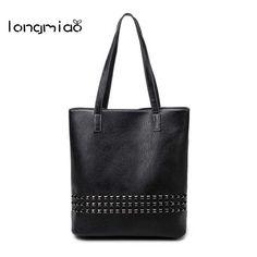 longmiao Brand Rock Style Retro Handbags Female Shouder Bag Big Capacity PU  Leather Women s Fashion Rivet d8797970393a9