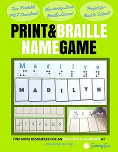 Resources for Children with Visual Impairments | That's My Name! Game for Braille Readers