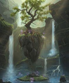 Fantasy Artworks by Frank Att #bonetech3d conceptart steampunk   One tree, magical scenery, waterfalls