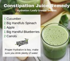 constipation-juice-remedy - A completely natural and super-healthy juice recipe, which is a perfect remedy for constipation. Made of spinach, cucumber, apple, carrots and blueberries, you simply cannot make a mistake. Try it right away!