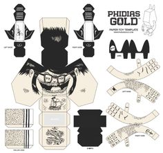 Phidias Gold Paper Toy by Nathan Trapnell