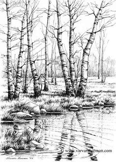 Varvara Harmon - Artist and Illustrator - Original Paintings, Pen, Pencil Drawings Original Paintings, Sketches, Ink Art, Art Drawings, Painting, Ink Pen Drawings, Nature Drawing, Tree Drawing, Landscape Drawings