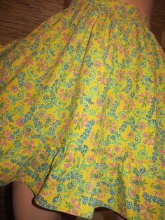 Vintage Apron, Yellow Flower Print, Cotton Apron, Folksy Ethnic Print, Retro Apron, Ruffled by CatBazaar on Etsy