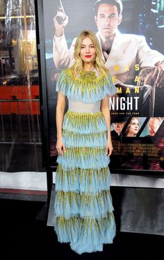 Sienna Miller in Gucci's lampshade dress at the Live by Night Los Angeles premiere.