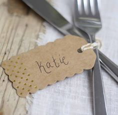 Rustic Glamour Luggage Tags – Brown Kraft With Gold Foil Polka Dots - available from The Wedding of my Dreams Name Place Cards, Place Names, Name Cards, Wedding Name, Wedding Places, Wedding Place Cards, Name Card Holder, Place Card Holders, Vintage Place Cards