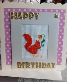 Hand made childrens card using cross stitch