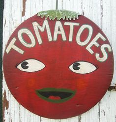 Folk Art Lg Red Smiling TOMATO Primitive Wood Farm Stand Sign - Jordan  etsy.com