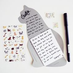 We are big fans of envelope templates around these parts- but all the ones we had were lacking that certain something. Introducing the cat note ( and envelope) template! Made out of beautiful sturdy,