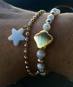 Set de pulseras con perlas