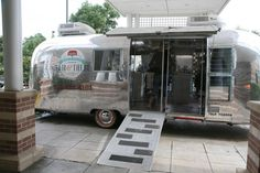 Tricked out Airstream mobile hair salon trailer.