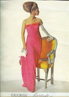 Modess because ad in1966. 1960s fashion.Evening gown