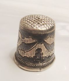 Antique Soviet Union Niello 875 Silver Sewing Thimble