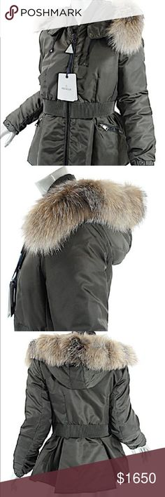 "Moncler Saumur Fur-Trim Cinched-Waist Coat, Olive Moncler ""Saumur"" puffer coat. Dyed fox (Finland) fur trims hood. Two-way front zip. Long sleeves; snaps at cuffs. Belt cinches waist. Angled front zip pockets. Slightly ruffled back. Nylon. Sold Out Size Moncler 4 Moncler Size 4 is considered XL, please look at measurments for best idea of size Length - 25-1/2"" Waist - 33"" all around Shoulder seam to shoulder seam - 16-1/2"" Hip - 40"" all around Hood is removable, and fur is removable Coat is…"