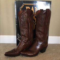 Dan Post leather cowboy boots Dan Post Cowboy Boots. Size 8.5. Great condition!! One small scratch on the left toe. It fits a slimmer calf. Dan Post Shoes Heeled Boots