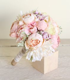 Silk Bridal Bouquet Pink Peonies Dusty Miller Garden Rustic Chic Wedding NEW 2014 Design by Morgann Hill Designs by braggingbags on Etsy
