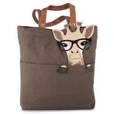 Nerdy Giraffe Canvas Tote Bag