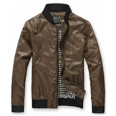 Men Spring New Style Korean Style Casual Scoop Coffee Polyester Coat... ($42) via Polyvore