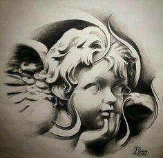 """Cherub Angel"" Another dope shot of last nights sketj for future prints i d. - ""Cherub Angel"" Another dope shot of last nights sketj for future prints i did. Can't wait to - Kopf Tattoo, Chicanas Tattoo, City Tattoo, Body Art Tattoos, Hand Tattoos, Sleeve Tattoos, Tattoo Flash, Statue Tattoo, Tattoo Design Drawings"