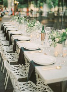 The perfect start to a wedding weekend? Gather guests for the likes of this modern downtown rehearsal dinner! The setting is a perfect way to start celebrations!