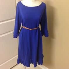 Lilly Pulitzer royal blue ruffle sweater dress Gorgeous royal blue color, ruffles around sleeves and hem. Medium weight sweater material. *belt not included Lilly Pulitzer Dresses