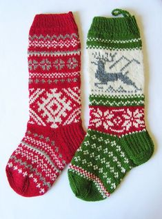 Hand Knitted Christmas Stockings | Hand knit Christmas Stocking with folksy ornaments and deer ...