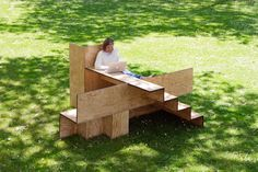 wooden stair public furniture by sebastian marbacher/朴树景观网   observation and research  brought swiss designer sebastian marbacher to the design of the communal plywood bench.