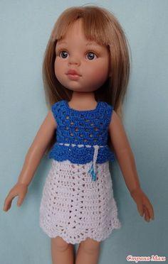 """Платье с квадратной кокеткой для Паолки. Пряжа-кировский """"Ирис"""" (100% хлопок, 25 гр-150 м), крючок №1,4. Кокетка вяжется синей пряжей. Схема:"""