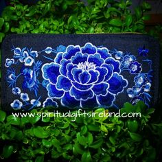 Handcrafted Embroidered Ethnic Purses Clutch and Wallets. Blue Lotus Flower, Second Chances, Spiritual Gifts, Blue Bonnets, Embroidered Flowers, The Ordinary, Hand Stitching, Black Cotton, Cotton Canvas