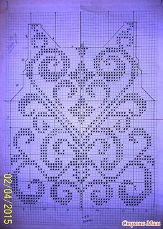Top (sirloin knitting) - knit together online - Country Mom Filet Crochet Charts, Crochet Cross, Crochet Diagram, Knitting Charts, Thread Crochet, Crochet Stitches, Knitting Patterns, Crochet Patterns, Fillet Crochet