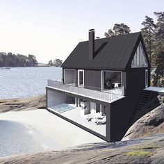 Sun House from Finland - Pre Fab homes Jarkko Könönen, architect Architecture Design, Building Architecture, Black Architecture, Sun House, Casas Containers, Black House, Exterior Design, Black Exterior, Beautiful Homes