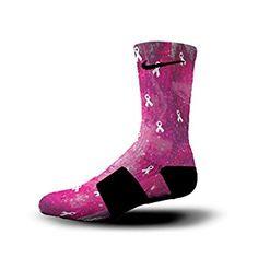 HoopSwagg Breast Cancer Galaxy Custom Nike Elite Socks at Amazon Men's Clothing store: