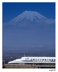 Japanese Bullet train - Shinkansen with Mt.Fuji in the background: Photo by Avijitg